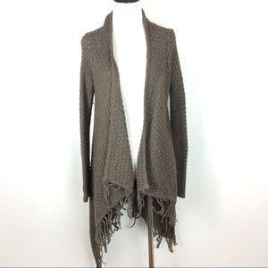Willi Smith Chunky Knit Fringe Cardigan Size M